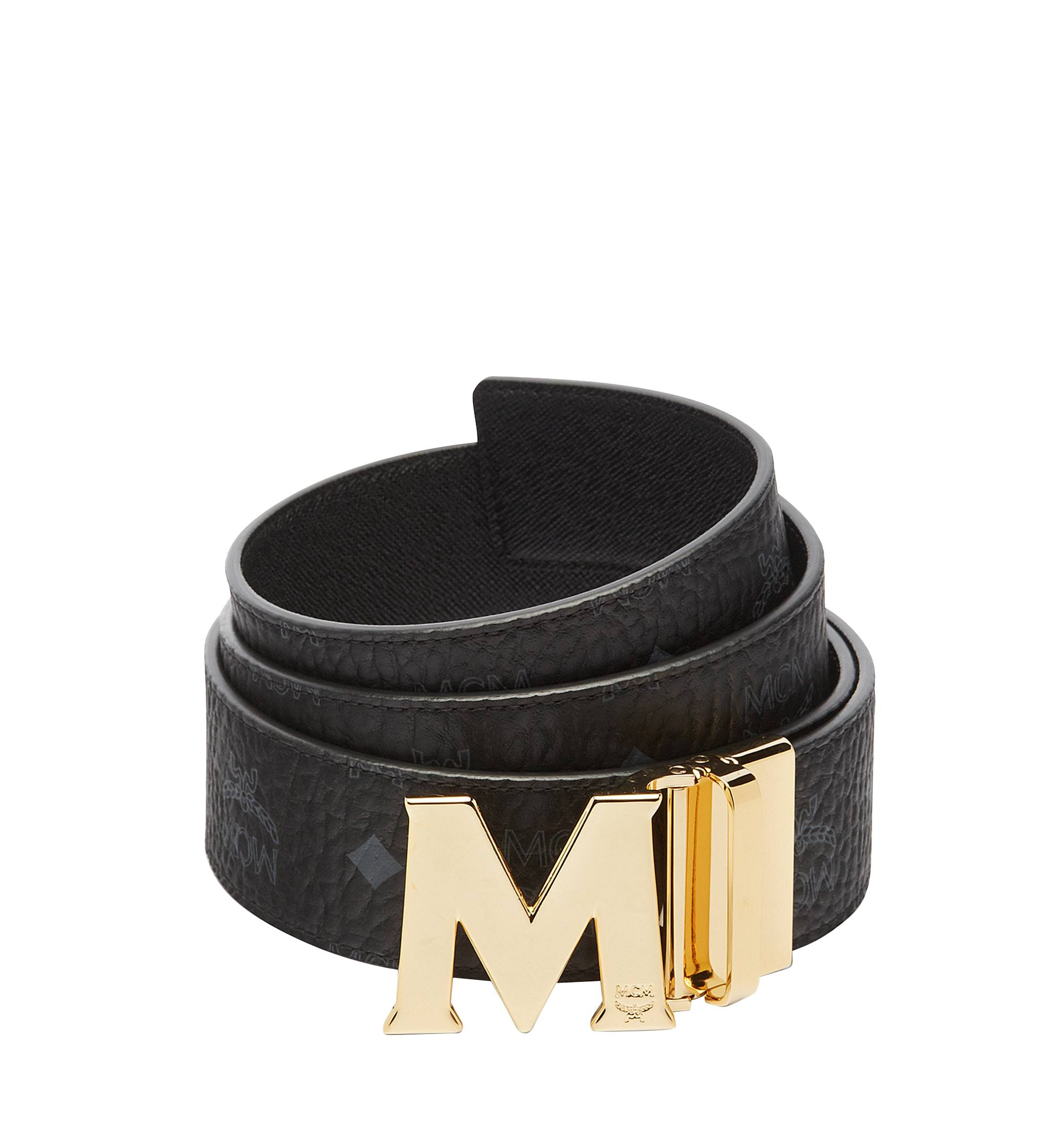 "MCM Claus M Reversible Belt 1.75"" In Visetos  - Black - Size: 130"
