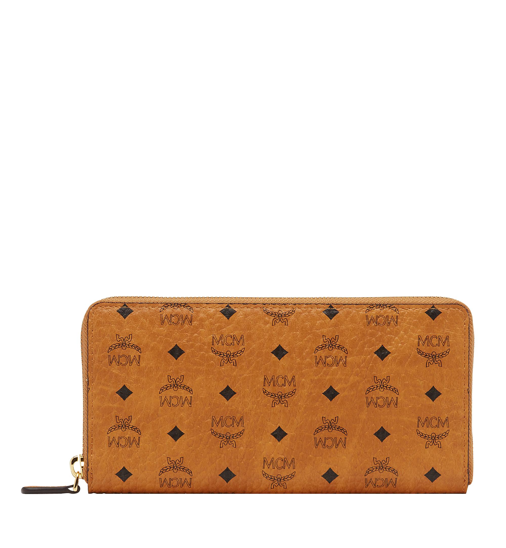 MCM Zip Around Wallet In Visetos Original  - Cognac - Size: LRG