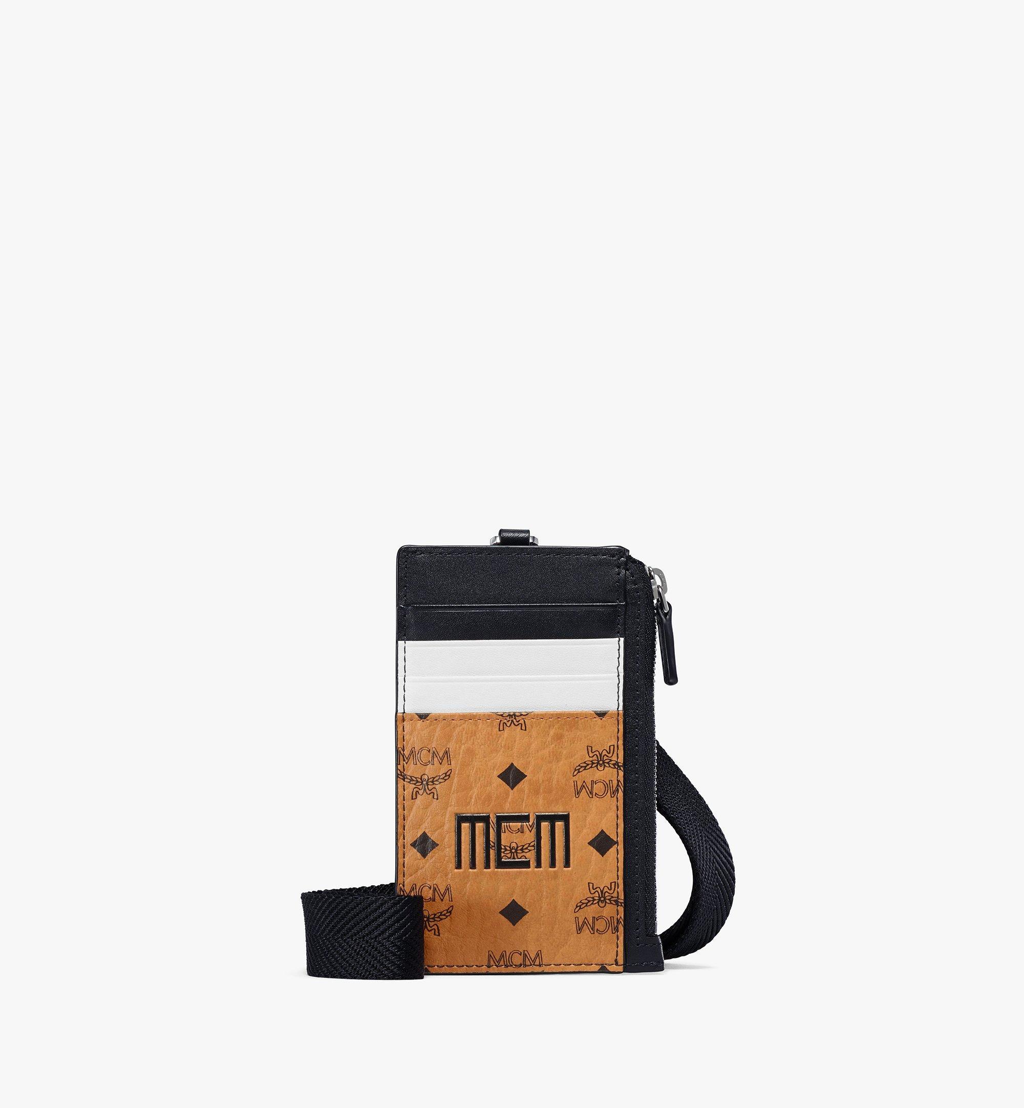MCM Lanyard Card Holder In Visetos Mix  - COGNAC - Size: FFF