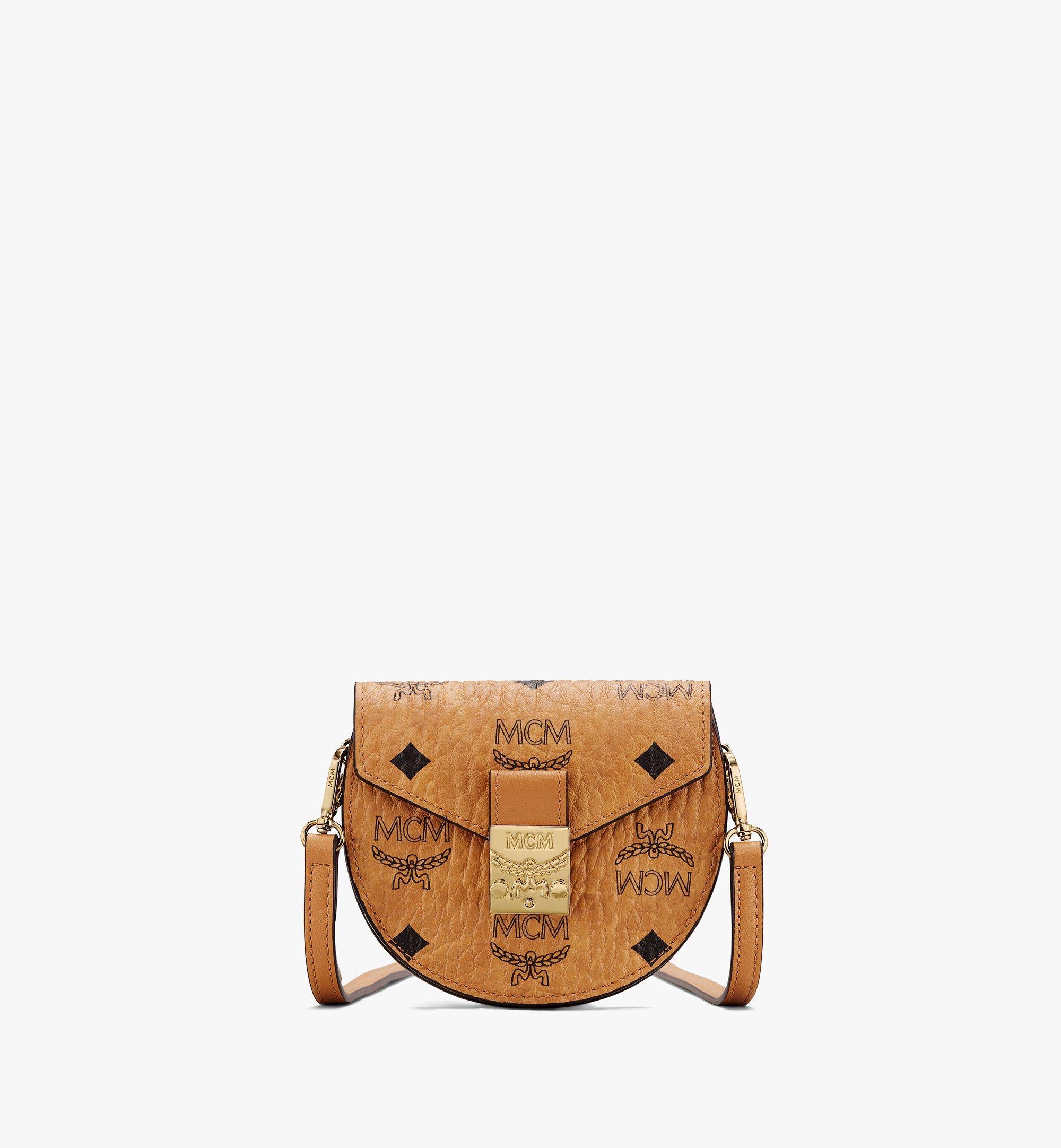 MCM Patricia Round Crossbody Wallet In Visetos  - Cognac - Size: Small