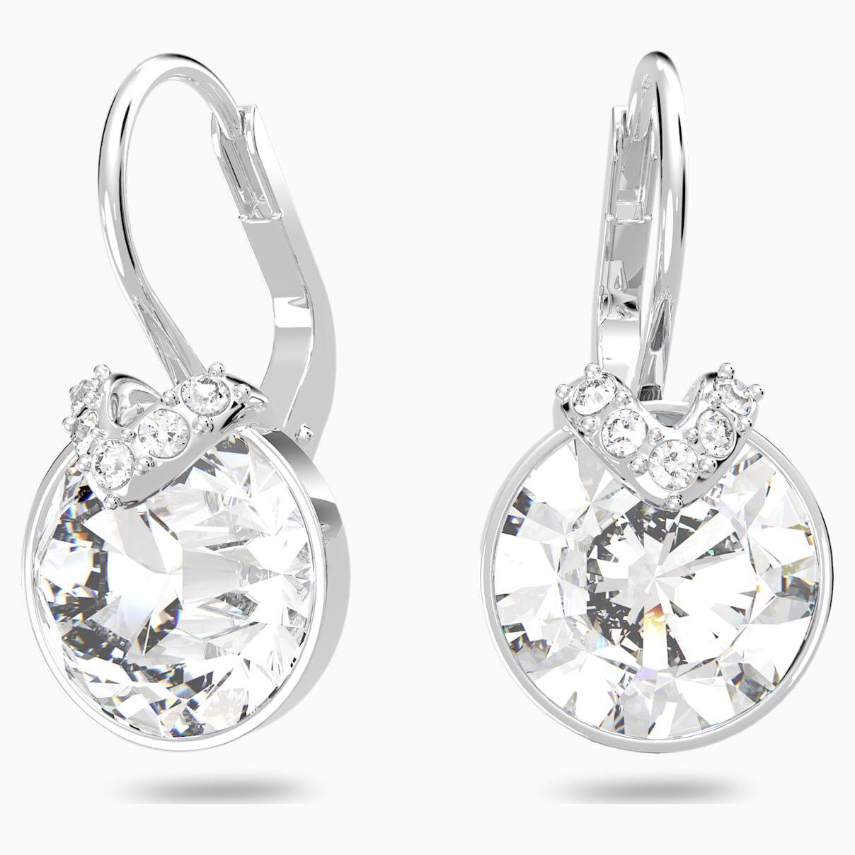Swarovski Bella V Pierced Earrings, White, Rhodium plated