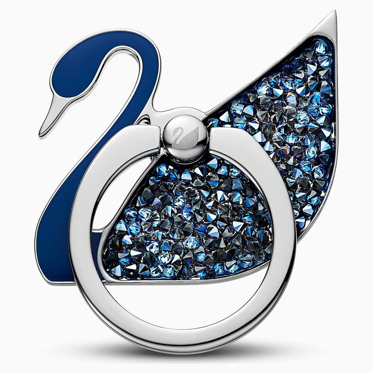 Swarovski Swan Ring Sticker, Blue, Stainless steel