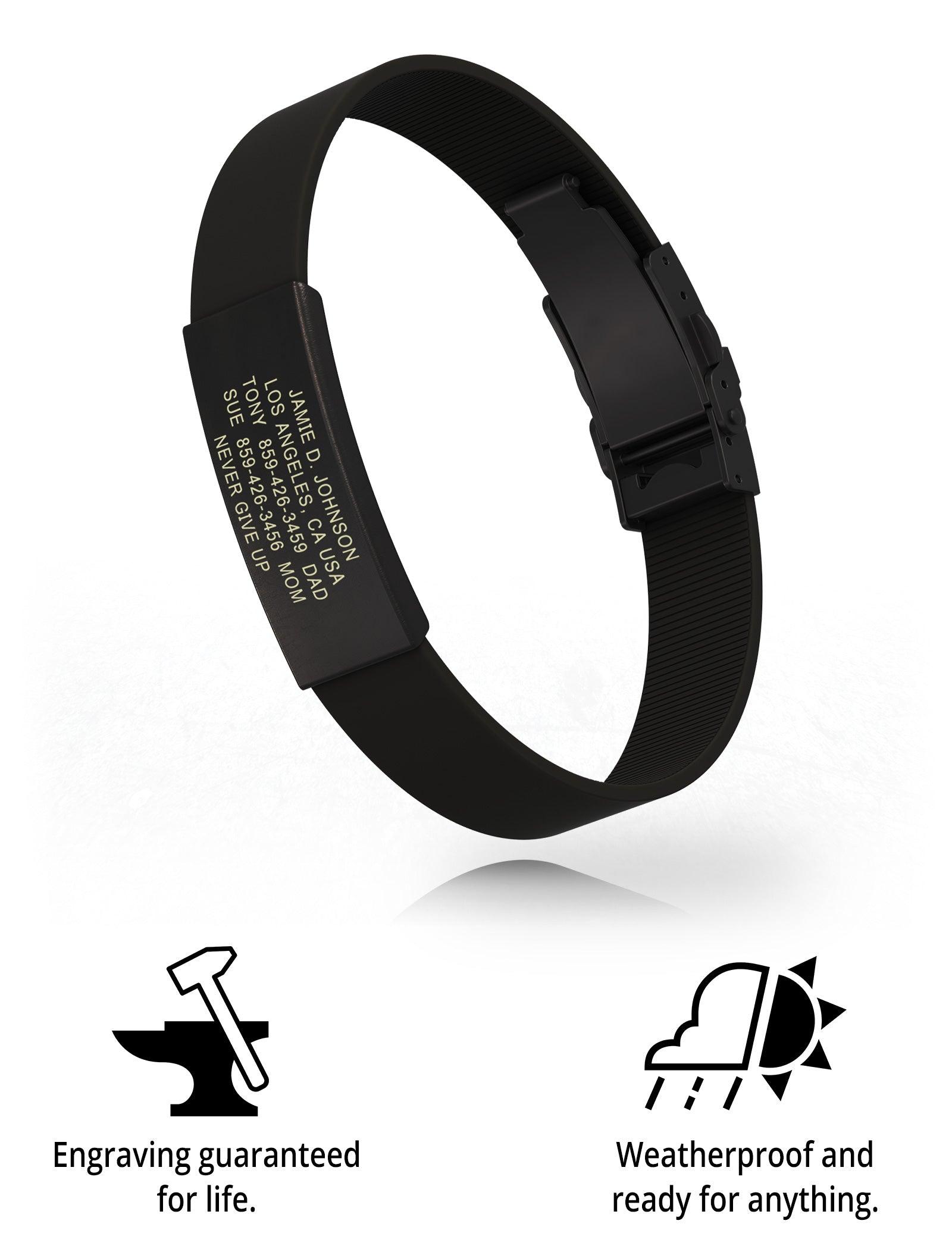 RoadId Wrist ID Elite Silicone Clasp 13mm Graphite