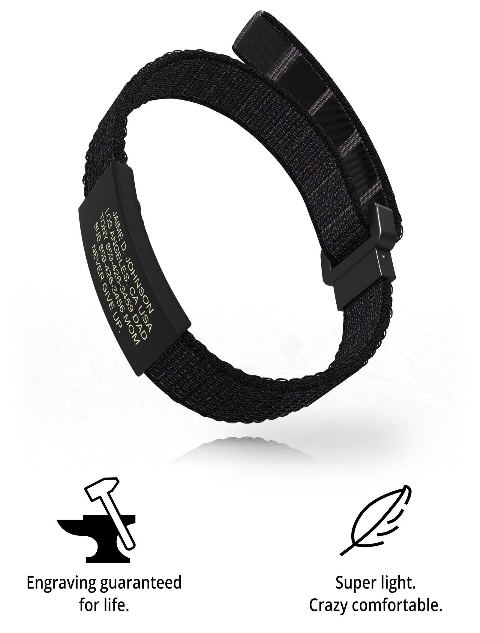 RoadId Wrist ID Sport Nylon Loop 19mm Graphite
