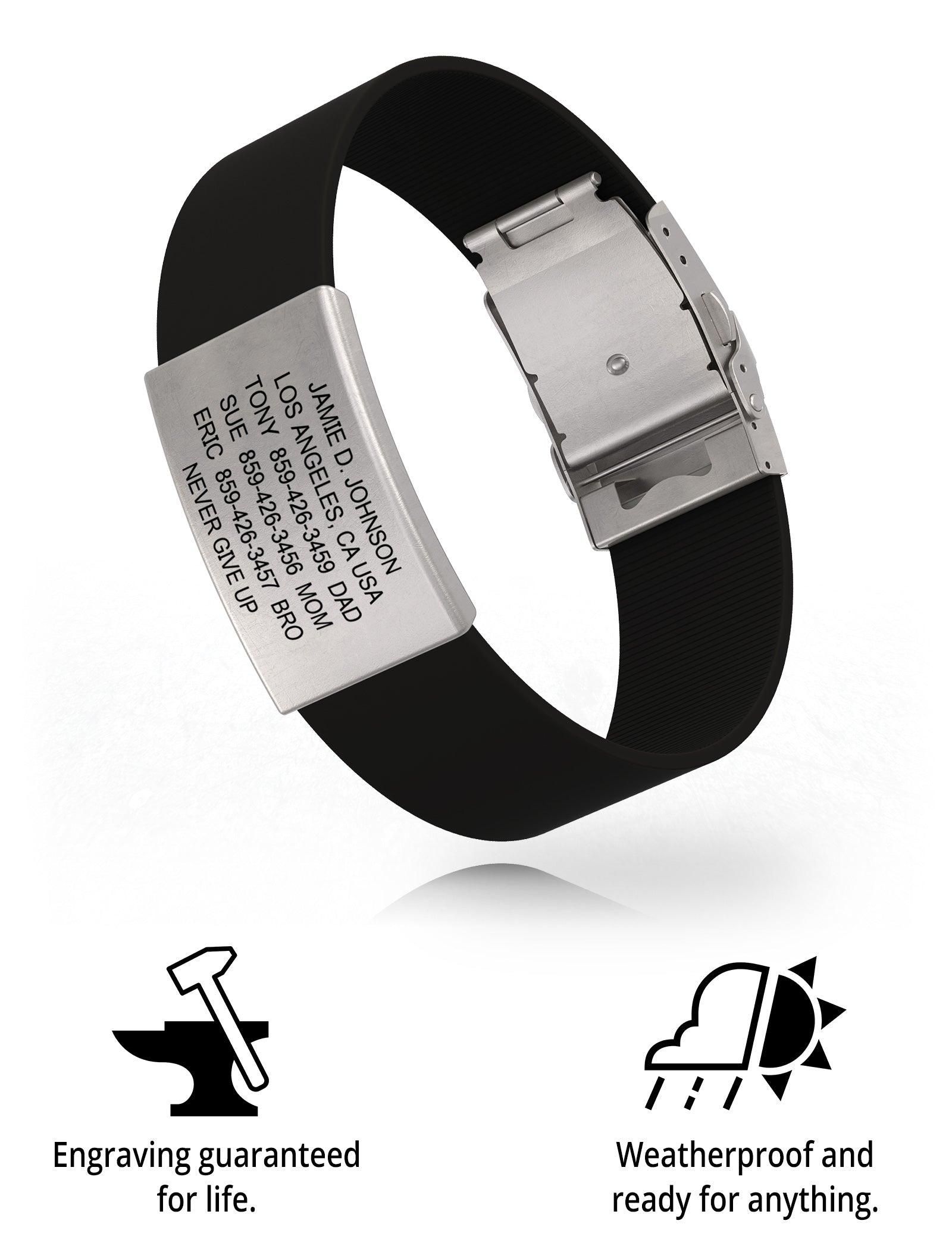 RoadId Wrist ID Elite Silicone Clasp 19mm Slate