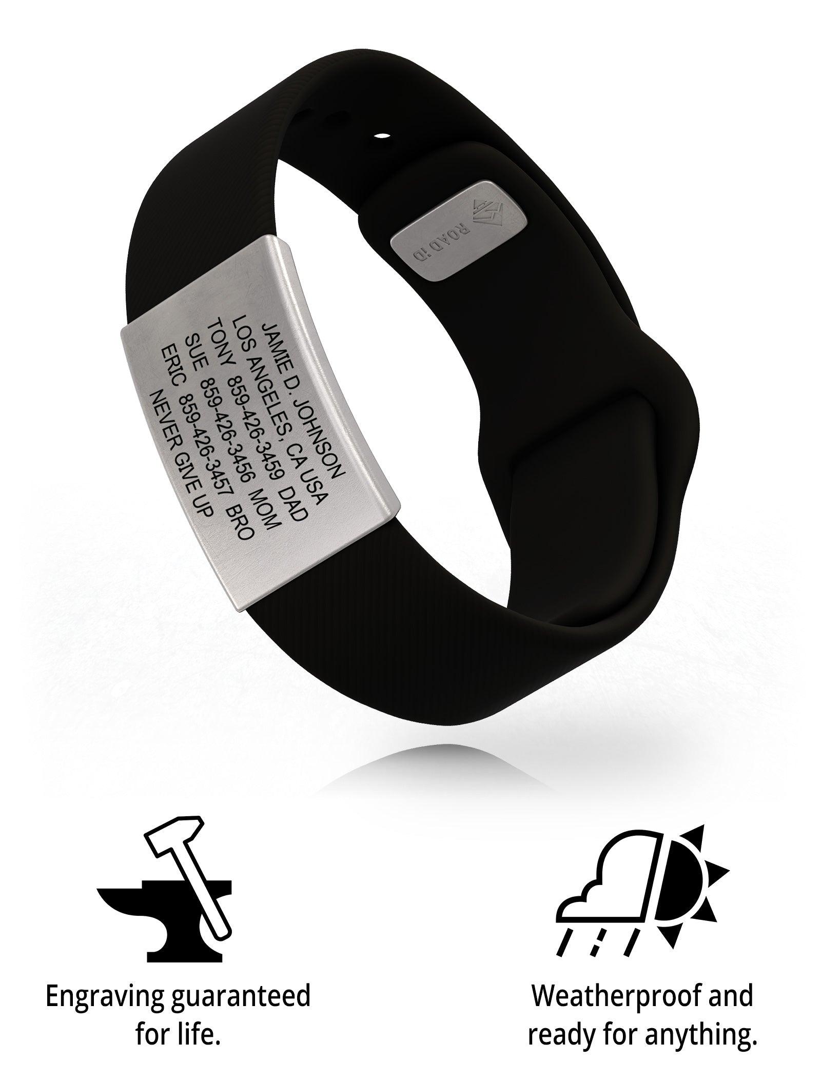 RoadId Wrist ID Sport Pin-Tuck 19mm Slate