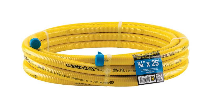 Home Flex psi Home-Flex 3/4 in. x 25 ft. L x 3/4 in. Dia. CSST Gas Tubing Stainless Steel
