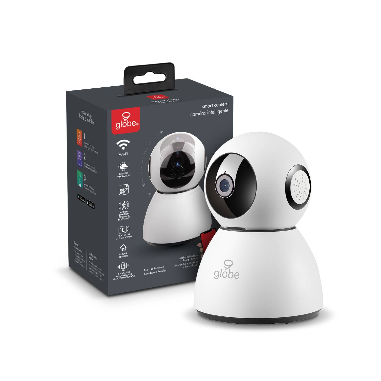 Globe Electric Wi-Fi Smart Home Plug-in Indoor Black/White Security Camera