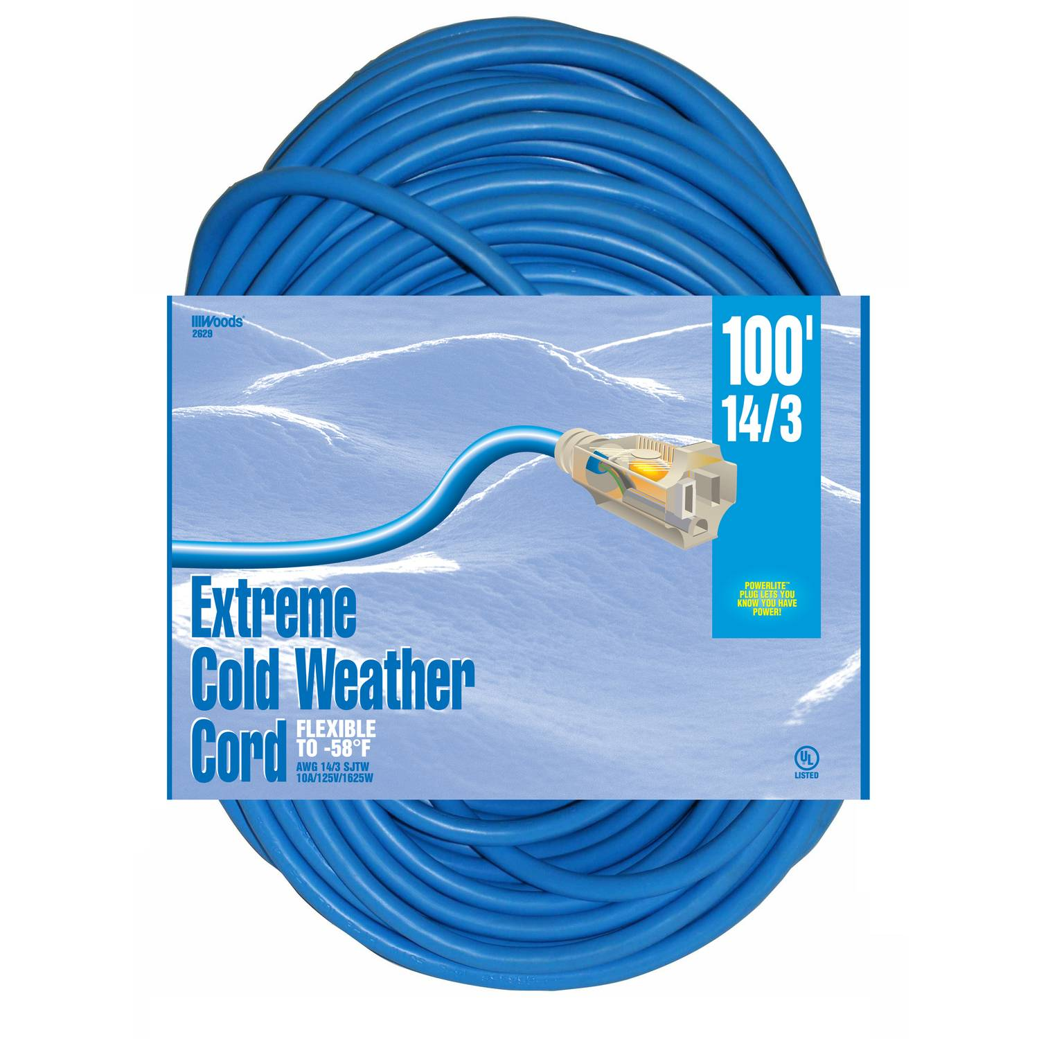 Woods Indoor and Outdoor 100 ft. L Blue Extension Cord 14/3