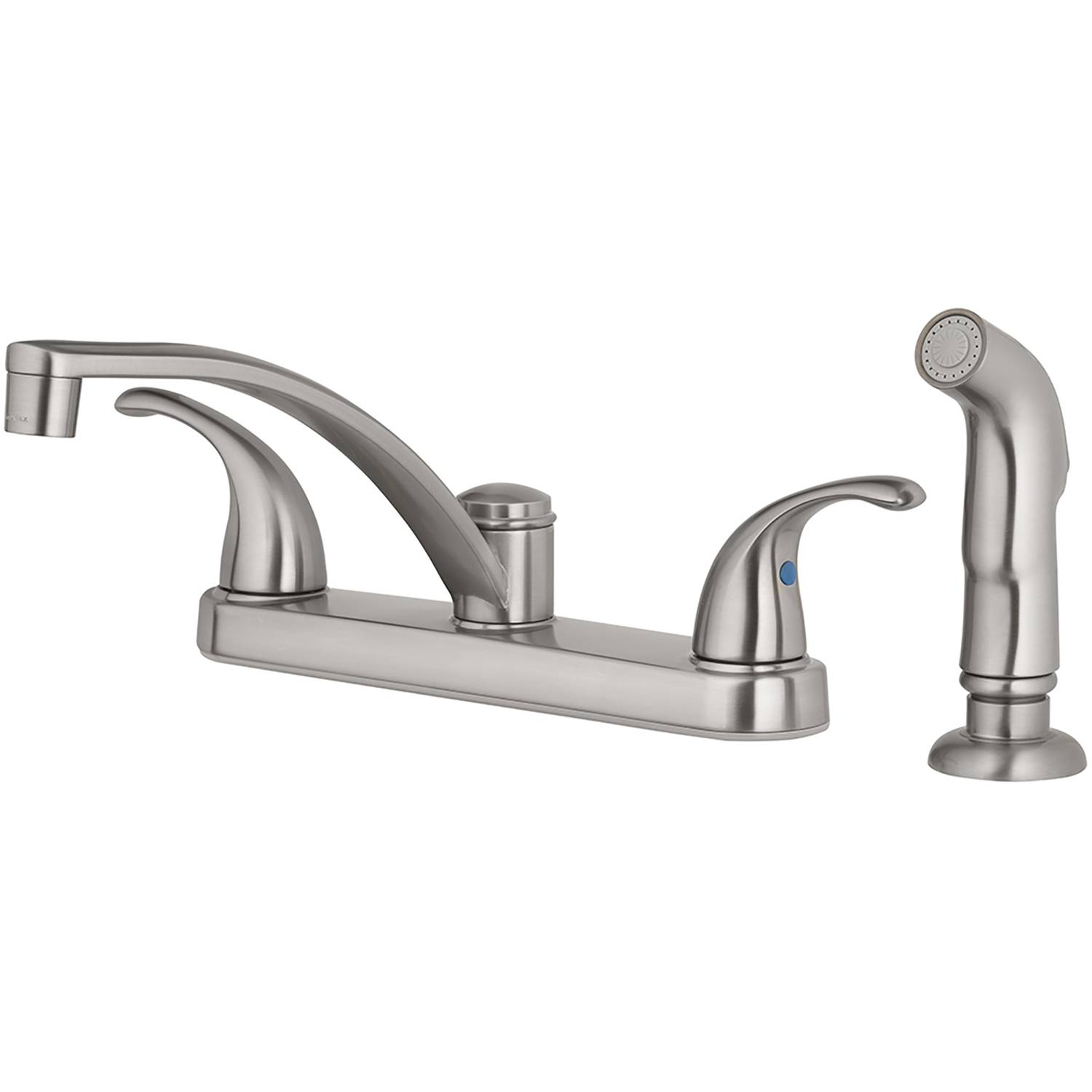 OakBrook Coastal Two Handle Brushed Nickel Kitchen Faucet Side Sprayer Included