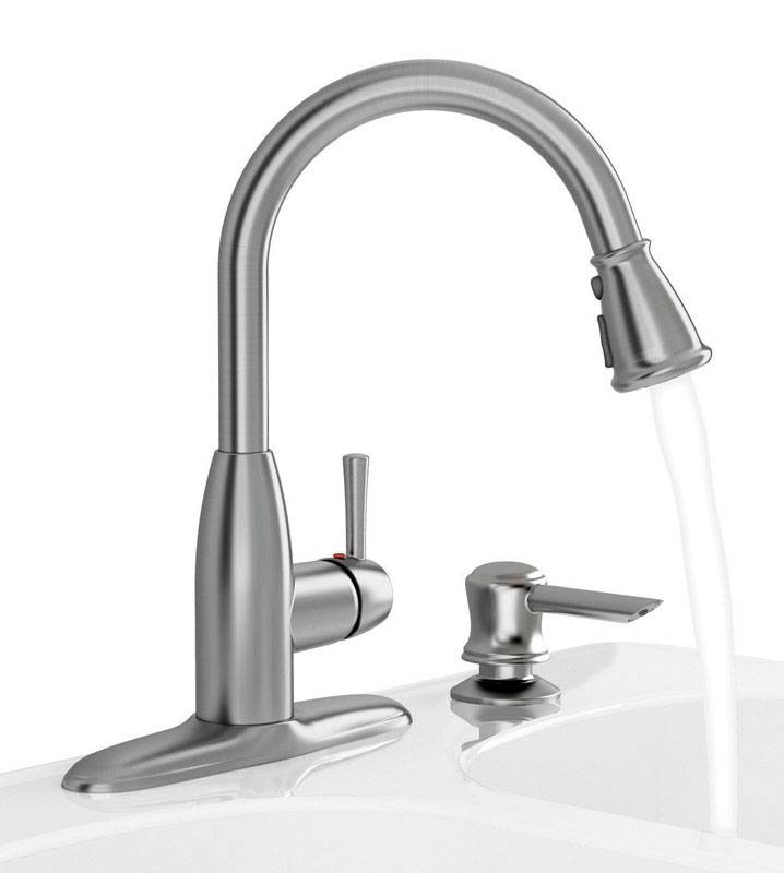 American Standard Mckenzie One Handle Stainless Steel Pull Out Kitchen Faucet Side Sprayer Incl