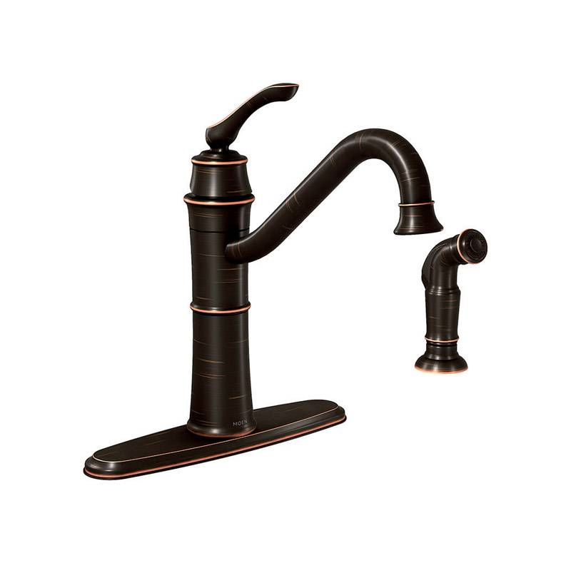 Moen Banbury One Handle Bronze Kitchen Faucet Side Sprayer Included