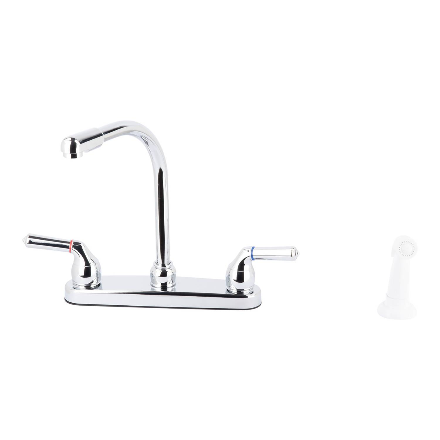 LDR Exquisite Hi-Rise Two Handle Chrome Kitchen Faucet Side Sprayer Included