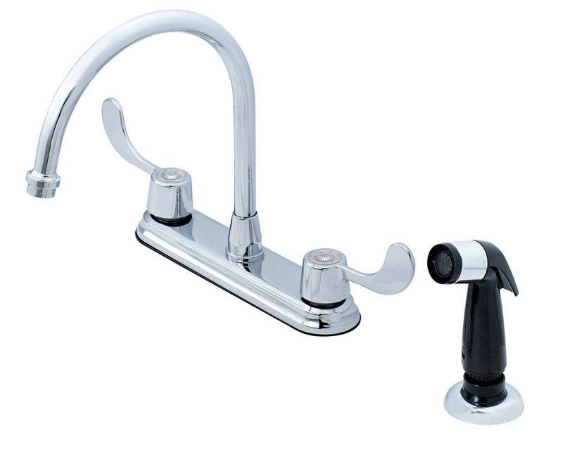 OakBrook Utility Coastal Two Handle Chrome Kitchen Faucet Side Sprayer Included