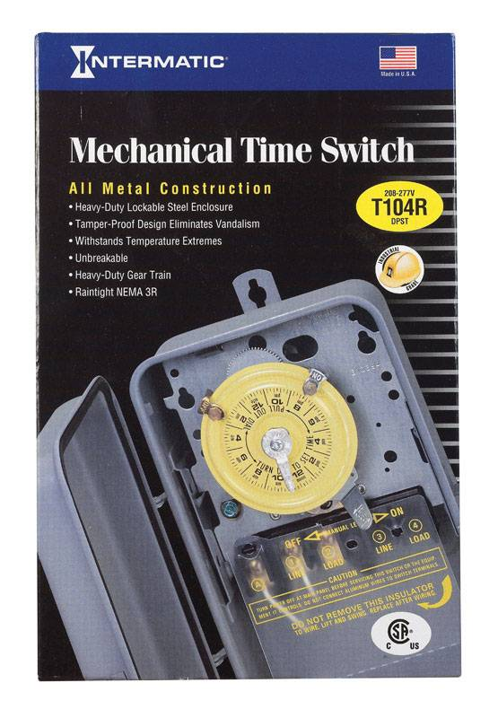 Intermatic Indoor and Outdoor Mechanical Timer Switch 208-277 volt Gray