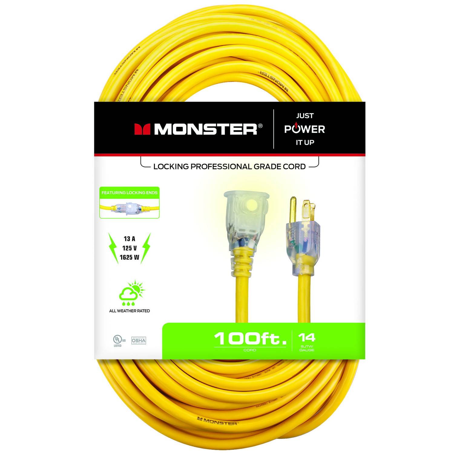 Monster Cable Just Power It Up Outdoor 100 ft. L Yellow Extension Cord 14/3 SJTW