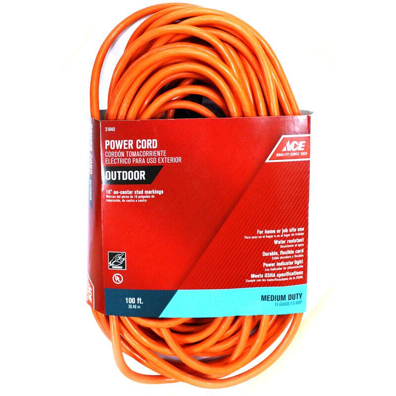 Ace Indoor and Outdoor 100 ft. L Orange Extension Cord 14/3 SJTW