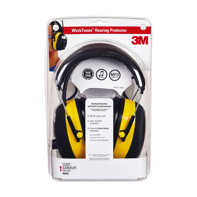 3M WorkTunes 24 dB Plastic Professional Hearing Protectors Black/Yellow 1 pk
