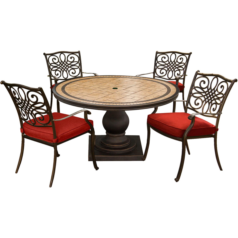 Hanover Monaco 5 pc. Bronze Aluminum Dining Patio Set Red
