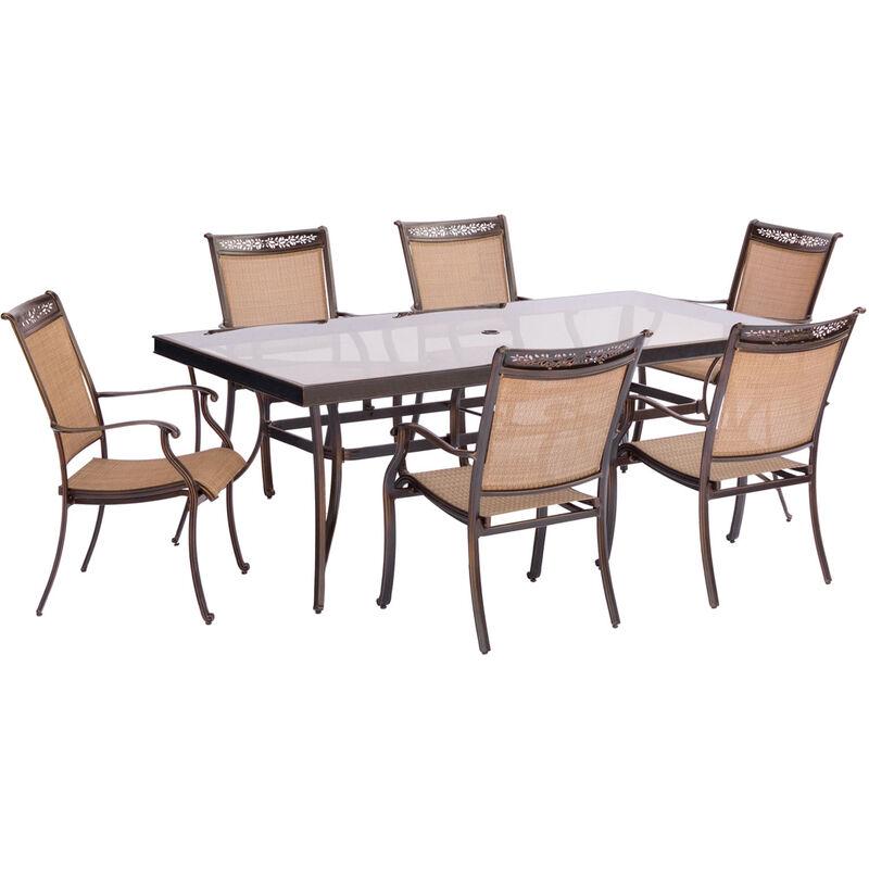 Hanover 7 pc. Brown Aluminum Dining Patio Set