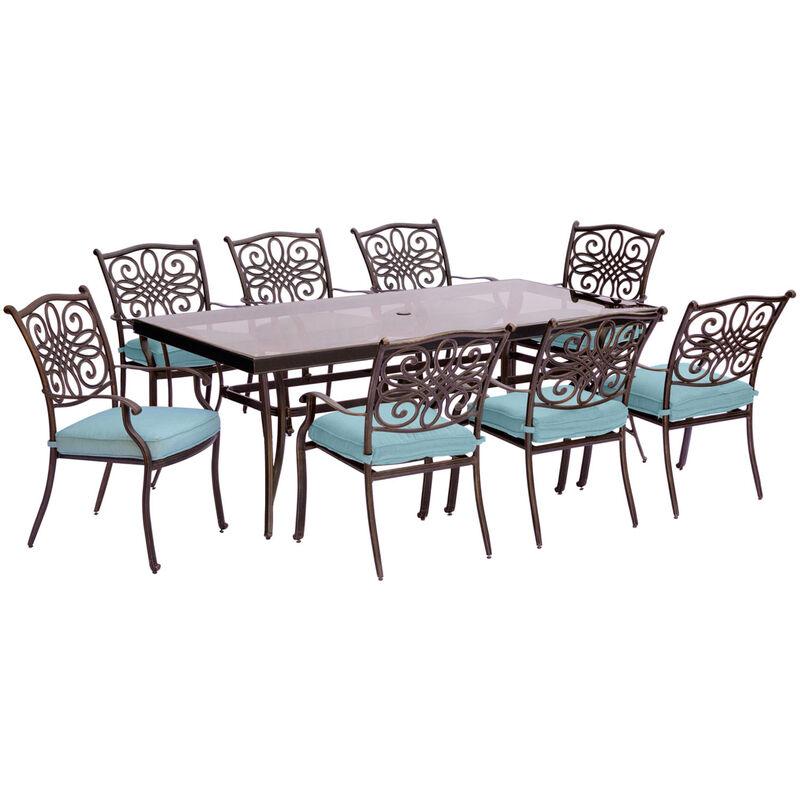 Hanover 9 pc. Bronze Aluminum Dining Patio Set Blue