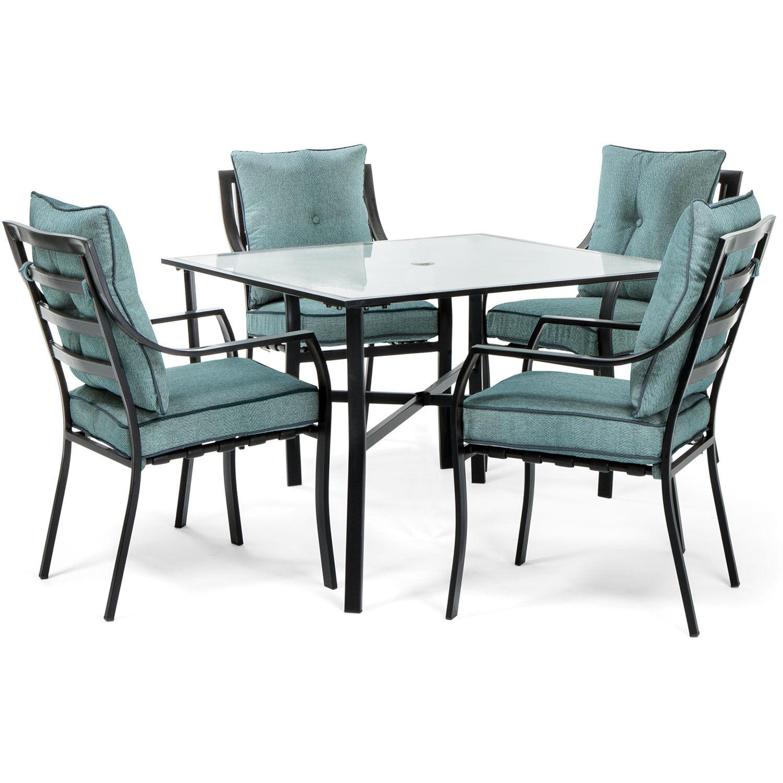Hanover Lavallette 5 pc. Minuit Steel Dining Patio Set Ocean Blue