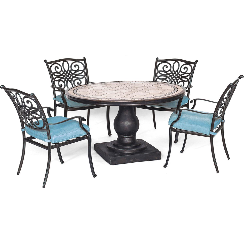 Hanover Monaco 5 pc. Bronze Aluminum Dining Patio Set Blue