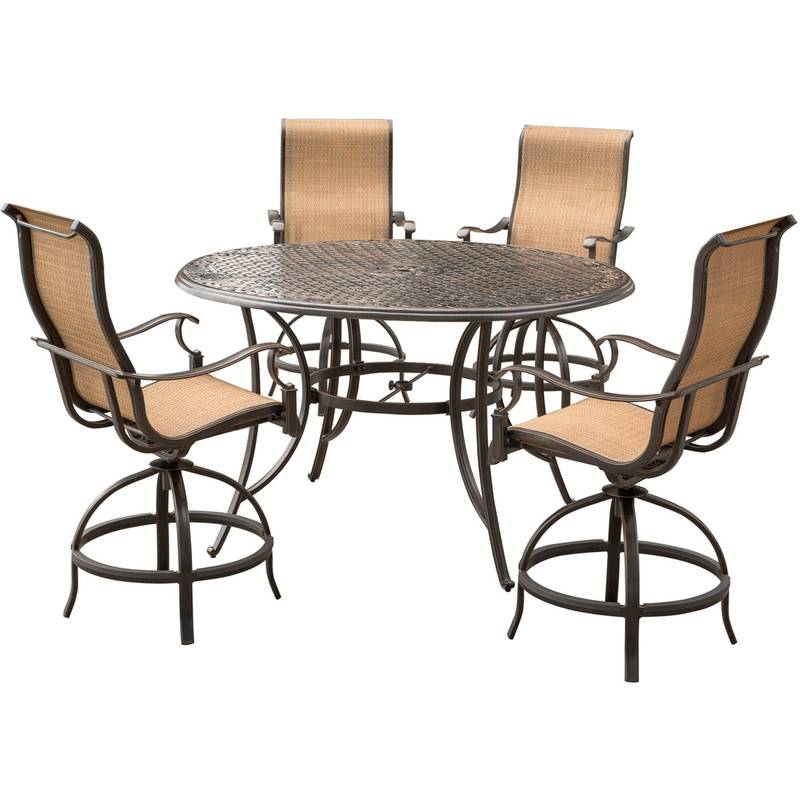 Hanover 5 pc. Brown Aluminum High Dining Set