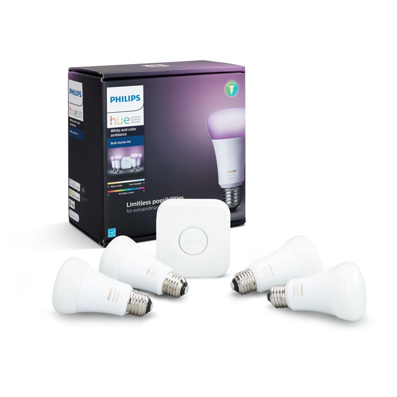 Philips Hue A19 E26 (Medium) LED Smart Bulb Starter Kit Color Changing 60 Watt Equivalence 4 p