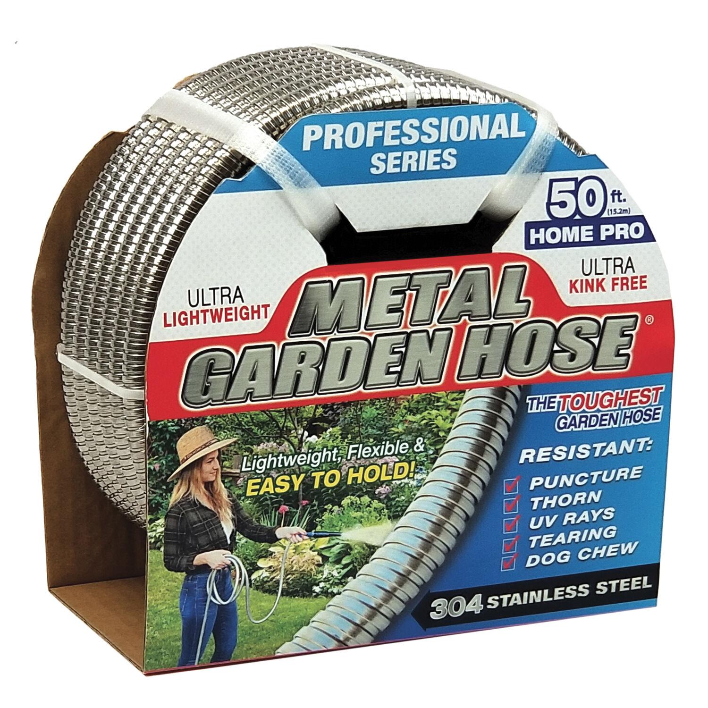 Swan Metal Garden Hose 1/2 in. Dia. x 50 ft. L Heavy-Duty Silver Stainless Steel Garden Hose