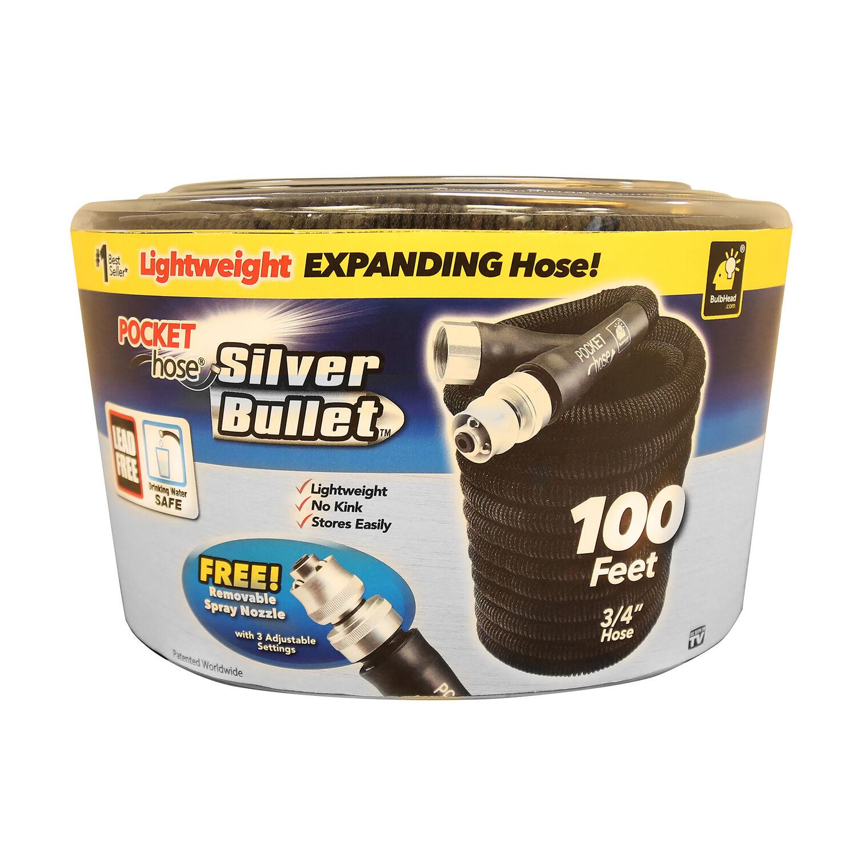 Pocket Hose Silver Bullet 3/4 in. Dia. x 100 ft. L Expanding Black Plastic Garden Hose