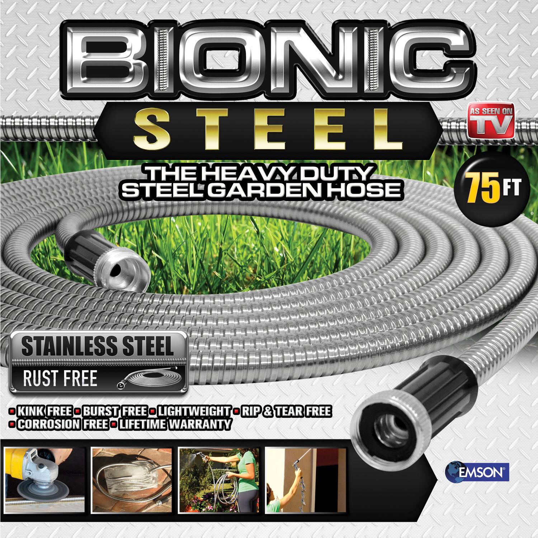 Bionic Steel Pro 5/8 in. Dia. x 75 ft. L Heavy-Duty Silver Stainless Steel Garden Hose