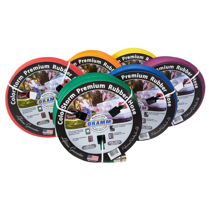 Dramm Colorstorm 5/8 in. Dia. x 25 ft. L Heavy-Duty Assorted Rubber Garden Hose