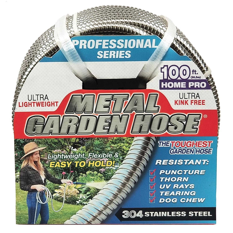 Swan Metal Garden Hose 1/2 in. Dia. x 100 ft. L Heavy-Duty Silver Stainless Steel Garden Hose