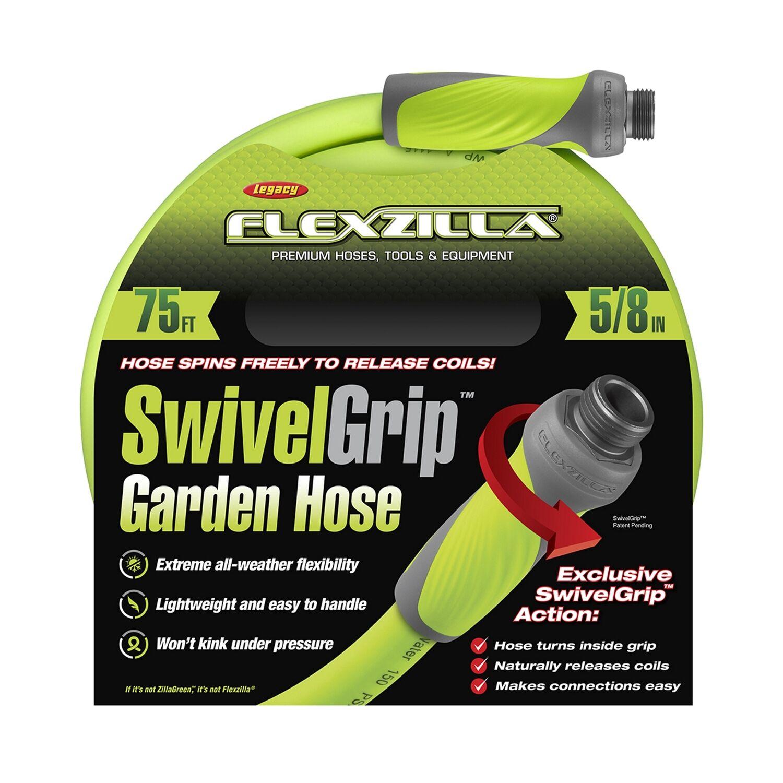 Flexzilla SwivelGrip 5/8 in. Dia. x 75 ft. L Zilla Green Hybrid Polymer Garden Hose