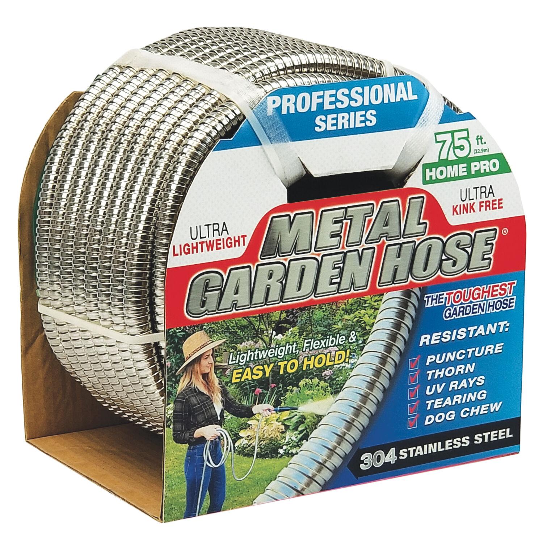 Swan Metal Garden Hose 1/2 in. Dia. x 75 ft. L Heavy-Duty Silver Stainless Steel Garden Hose