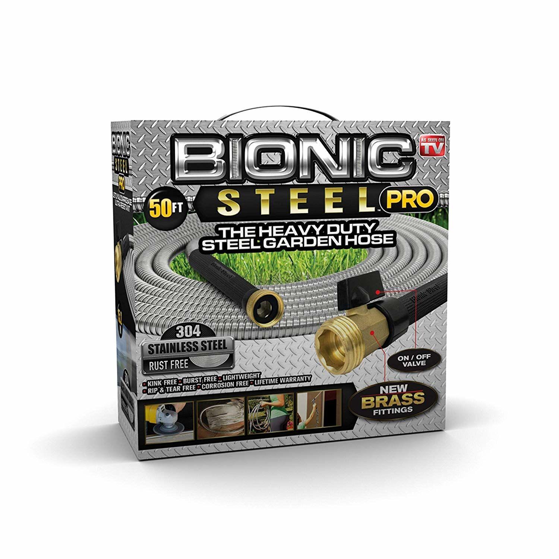 Bionic Steel Pro 5/8 in. Dia. x 50 ft. L Heavy-Duty Silver Stainless Steel Garden Hose