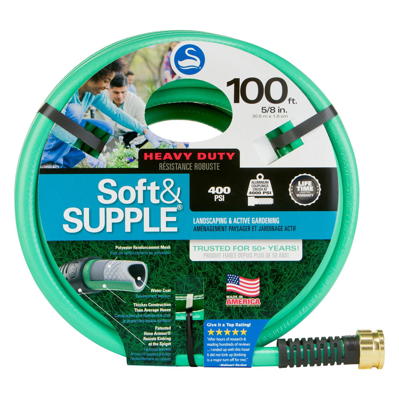 Swan Soft&SUPPLE 5/8 in. Dia. x 100 ft. L Heavy-Duty Green PVC Garden Hose