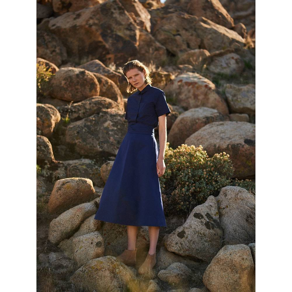 G. Label Lily Belted Flare Skirt in Navy, Size 12