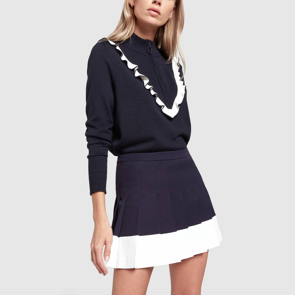 Tory Sport Color-Block Pleated Tennis Skirt in Tory Navy/Snow, Size 12