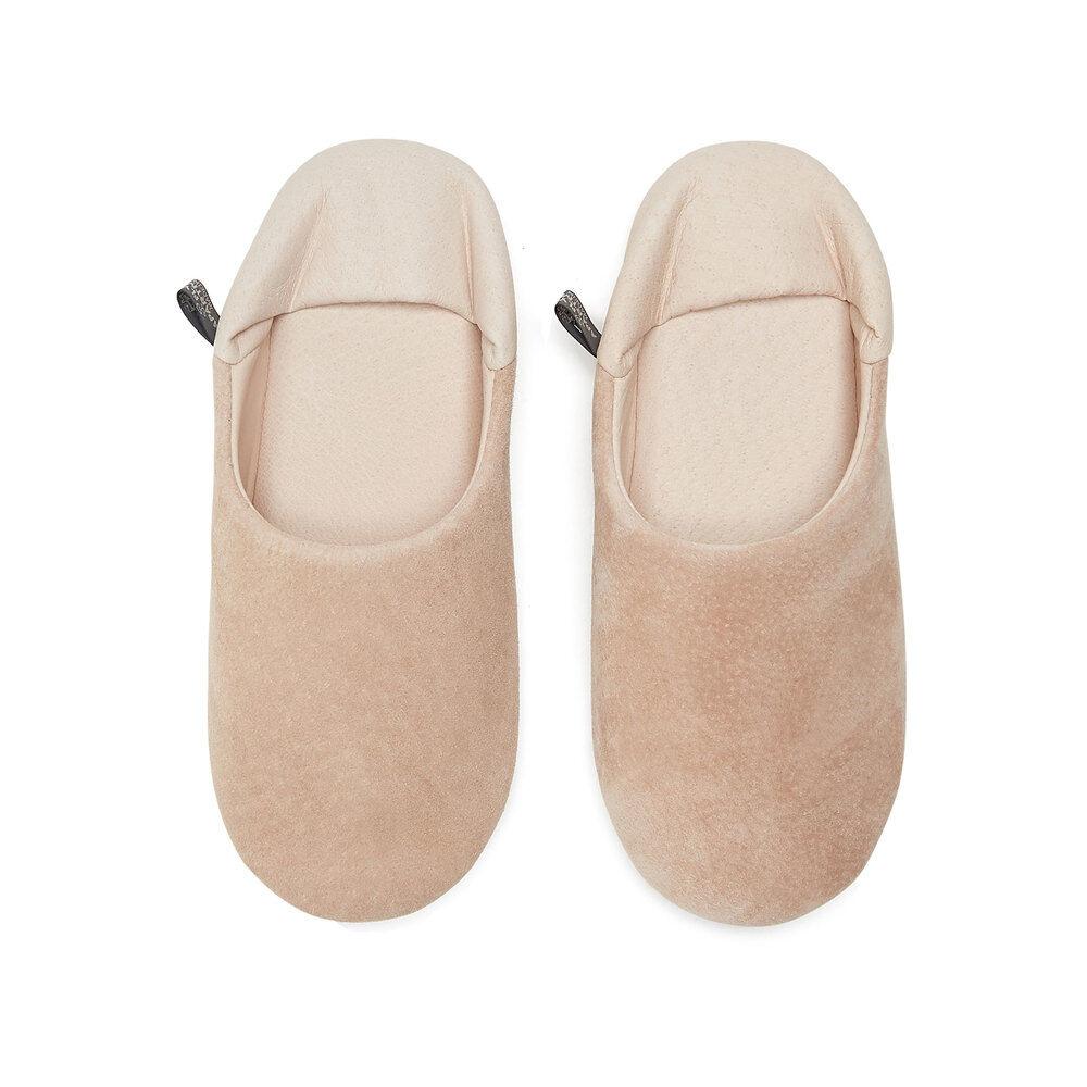 Morihata Washable Leather Room Shoes in Pink/Beige, Medium
