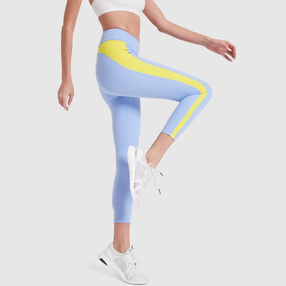 Tory Sport Color-Blocked 7/8 Leggings in Ace Blue/Cyber Yellow, X-Small