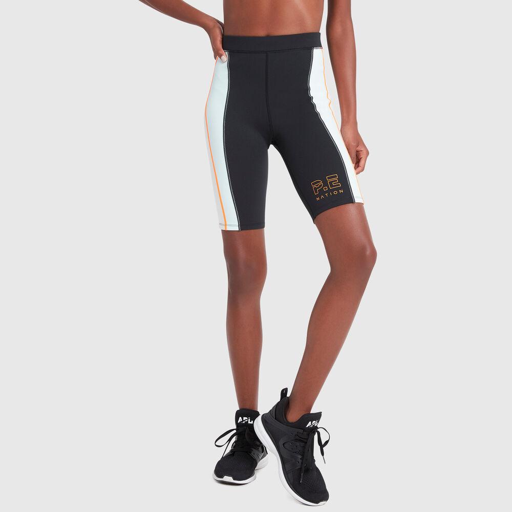 P.E. Nation Camber Striped Bike Shorts in Black, Medium