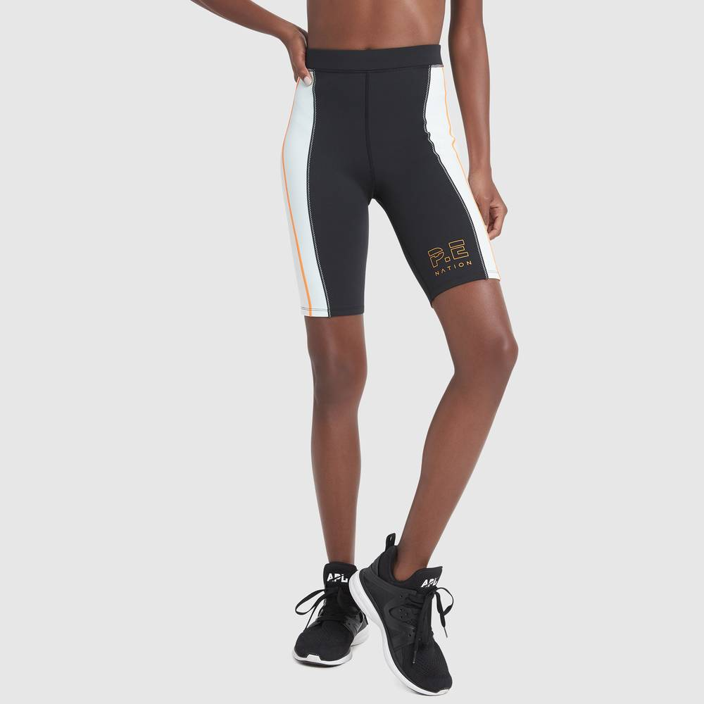 P.E. Nation Camber Striped Bike Shorts in Black, Large