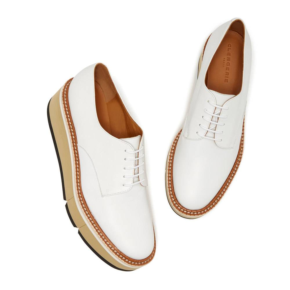 Clergerie Barbara Flatform Shoes Loafers in White, Size 9