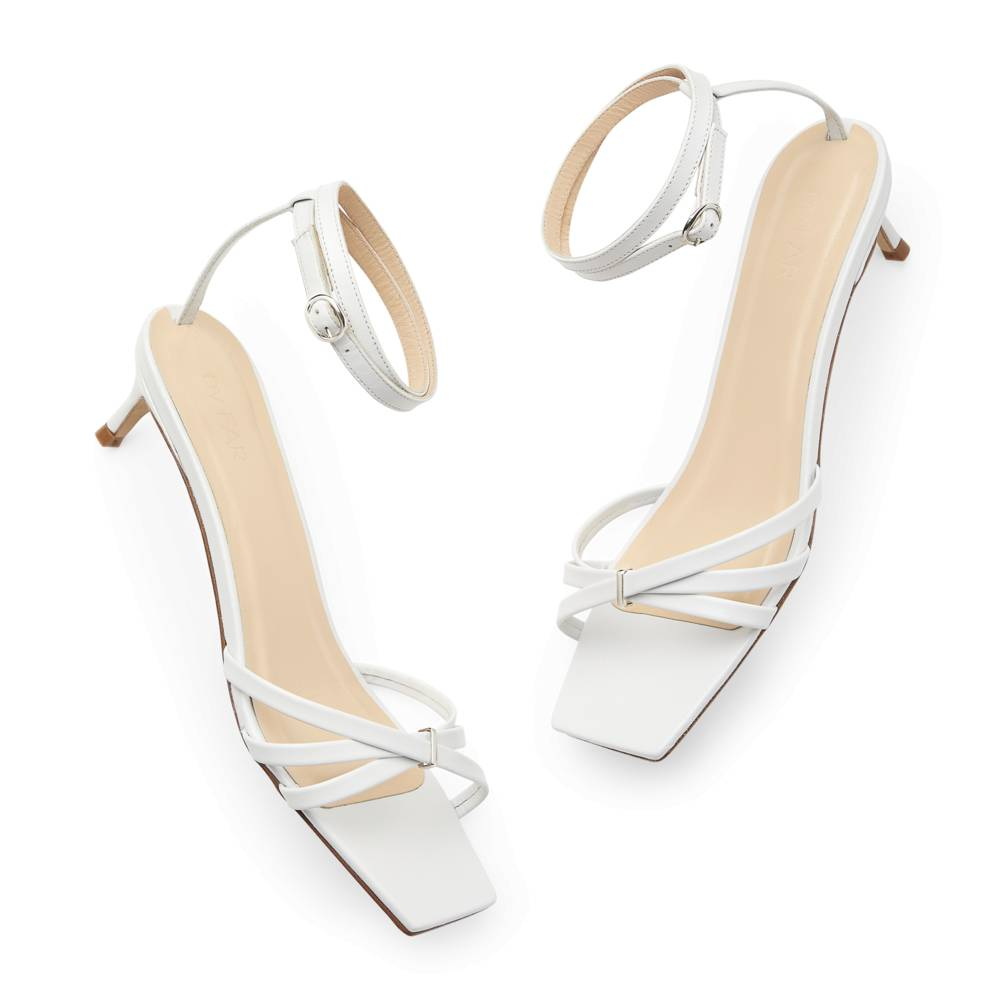 BY FAR Shoes Kaia Leather Sandals Heels in White, Size IT 40
