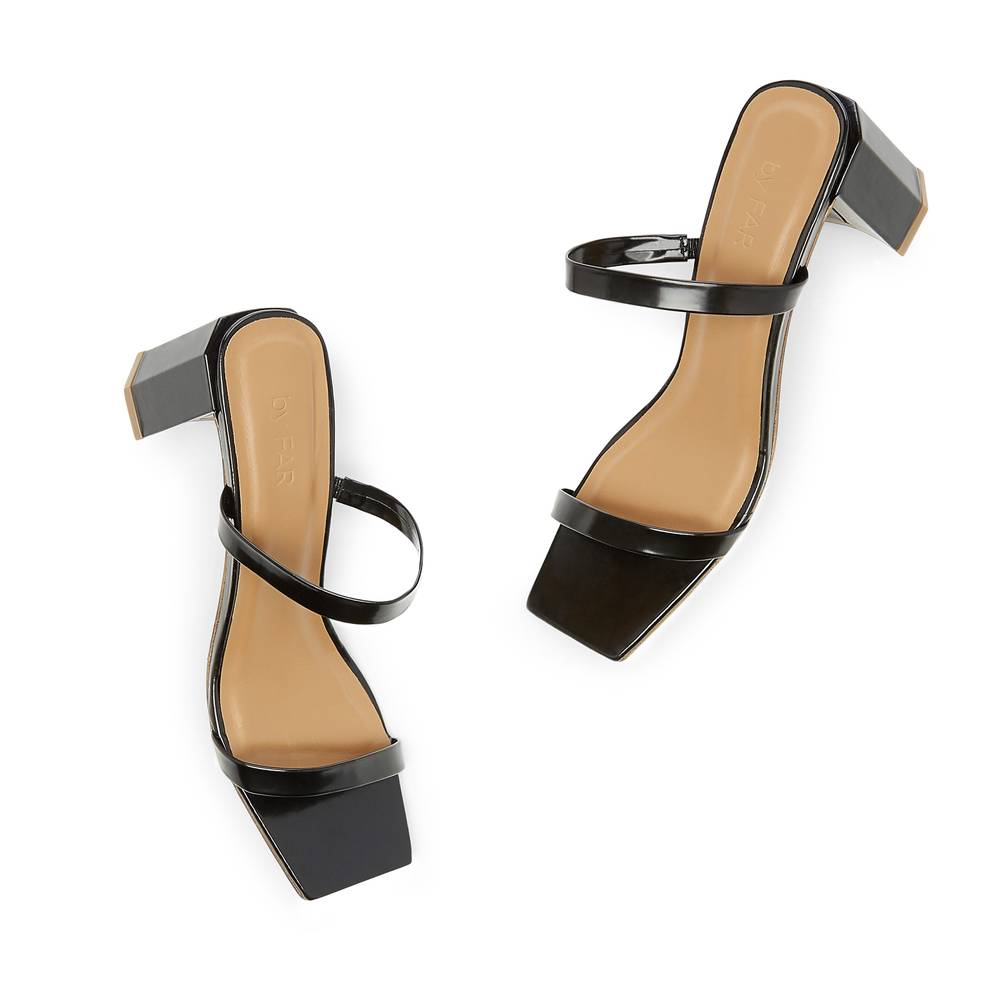 BY FAR Shoes Tanya Patent Leather Sandals Heels in Black, Size IT 37