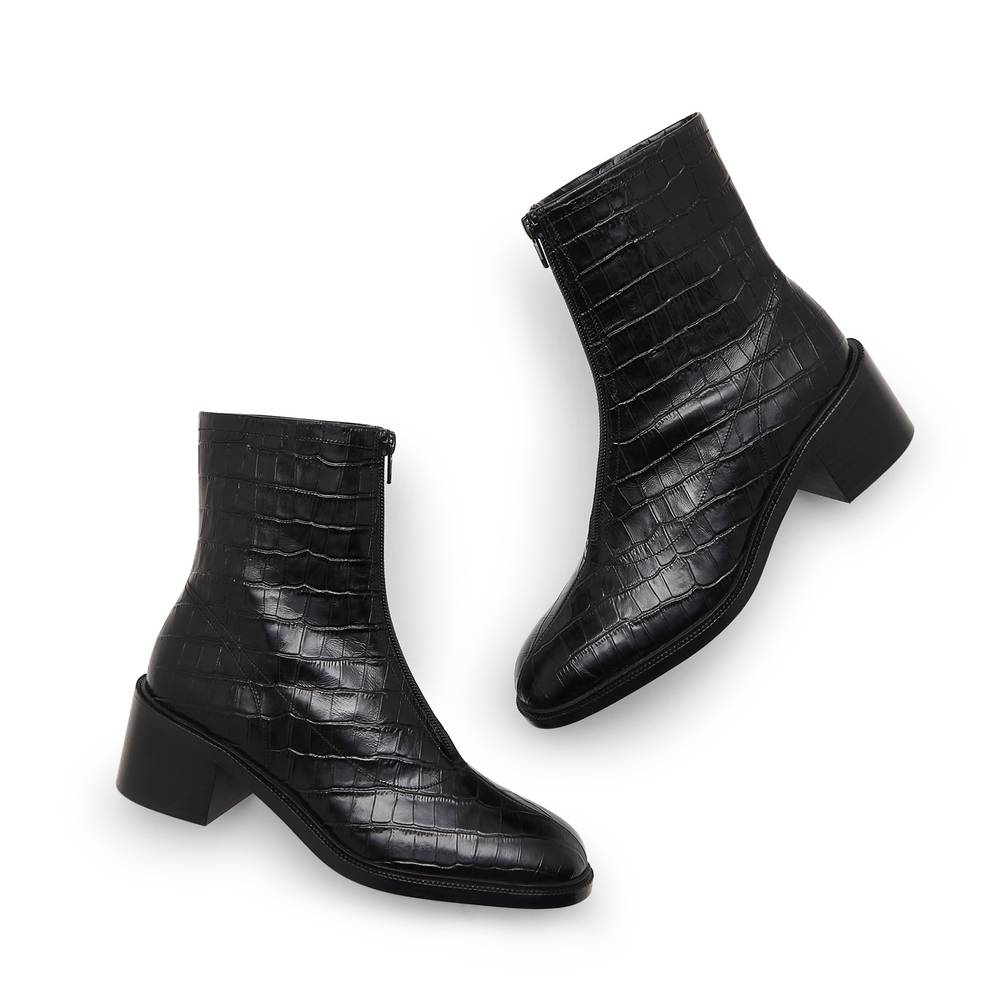 BY FAR Shoes Bruna Croc-Embossed Boots in Black, Size IT 39
