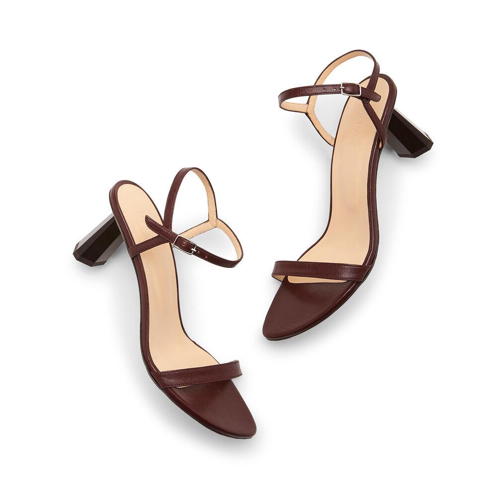 BY FAR Shoes Magnolia Leather Heels in Bordeaux, Size IT 39