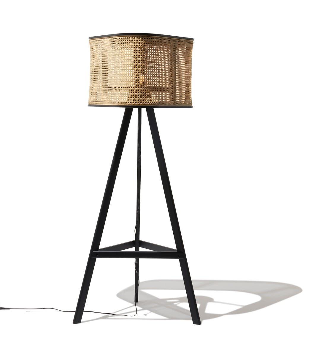 Industry West Cane Floor Lamp Black